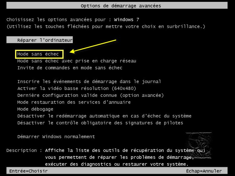 démarrer windows 7 en mode sans echec