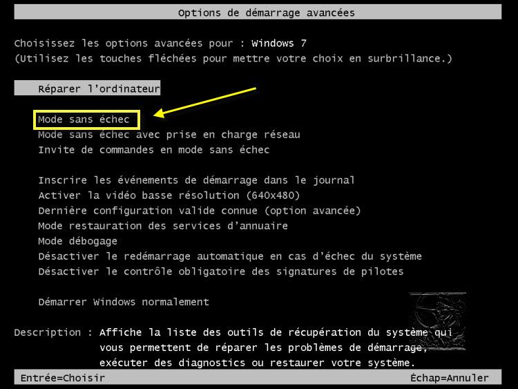 mode sans echec windows 7
